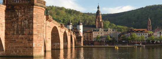 Old bridge and Church of the Holy Spirit in Heidelberg